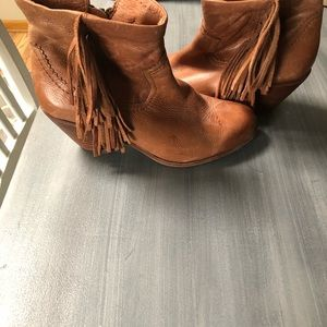 Booties Sam Edelman Cognac Leather fringed